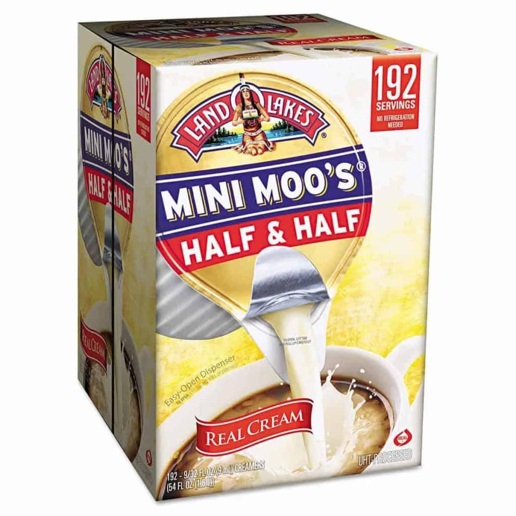 A box of mini moo's half and half creamers