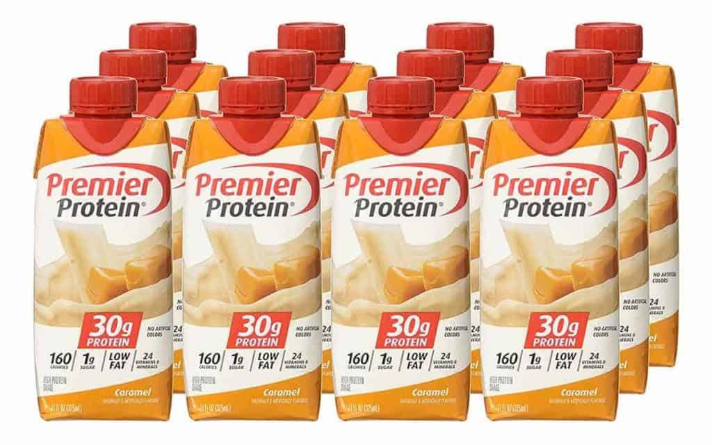 Bottles of Caramel flavour Premier Protein