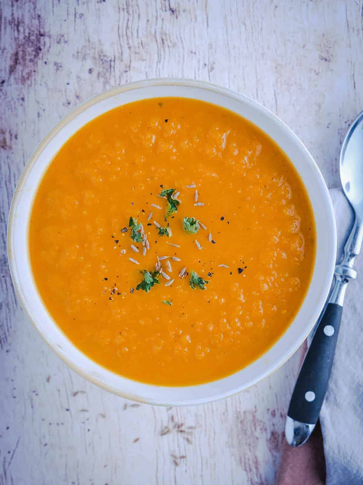 A bowl of WW Carrot & Ginger Soup