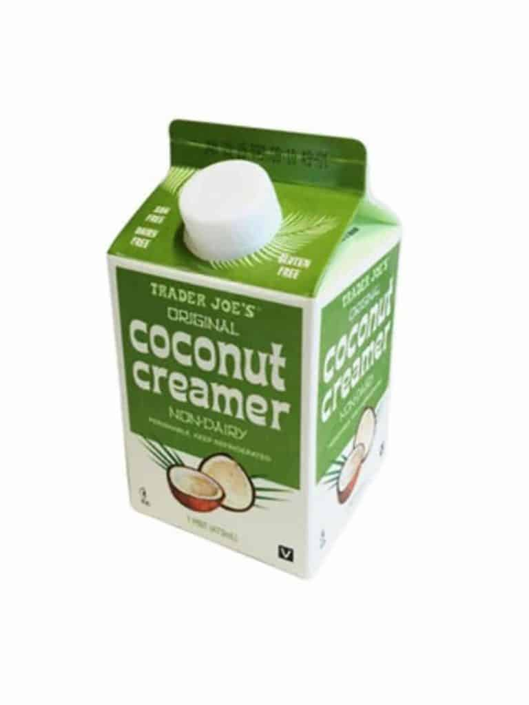 A carton of Trader Joe's Coconut Coffee Creamer