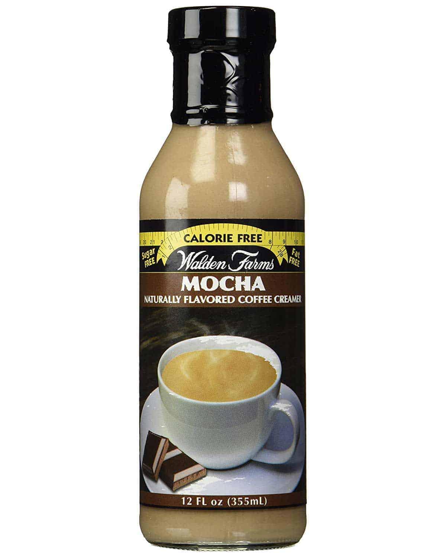 A bottle of Walden Farms Coffee Creamer