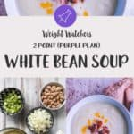 A bowl of ww white bean soup for the purple plan