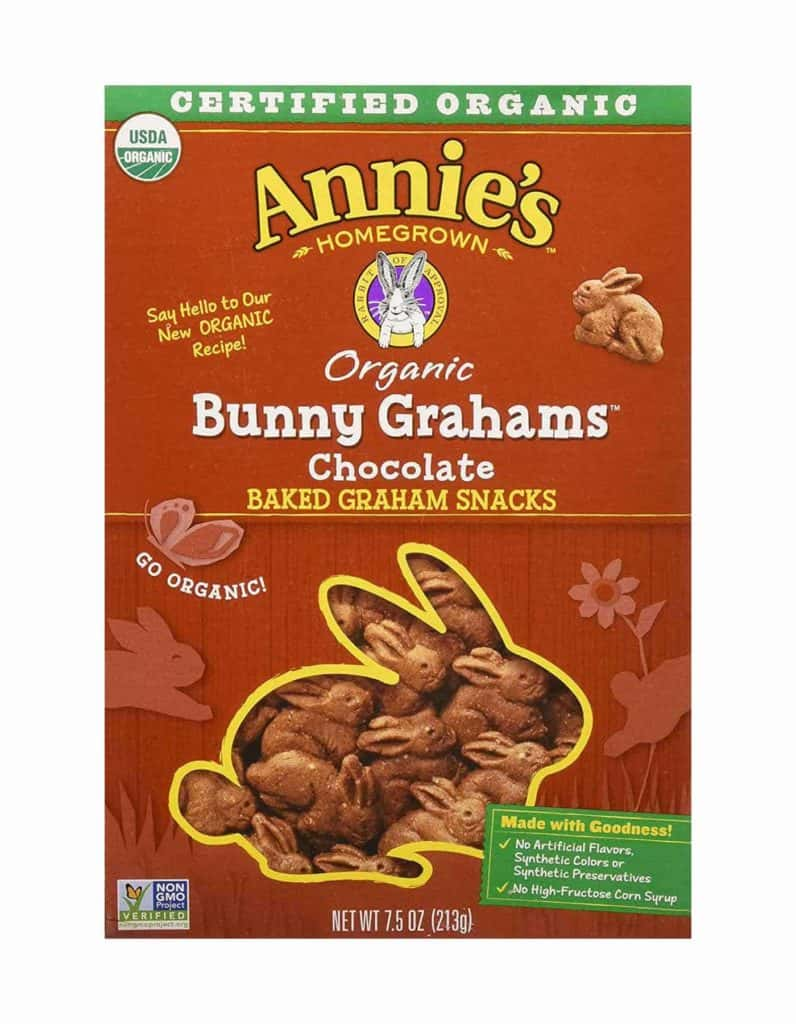 A box of Annie's chocolate Bunny Grahams