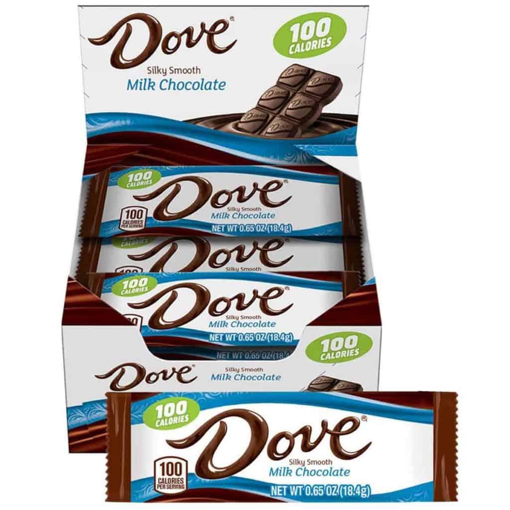 A box of Dove Milk Chocolate bars