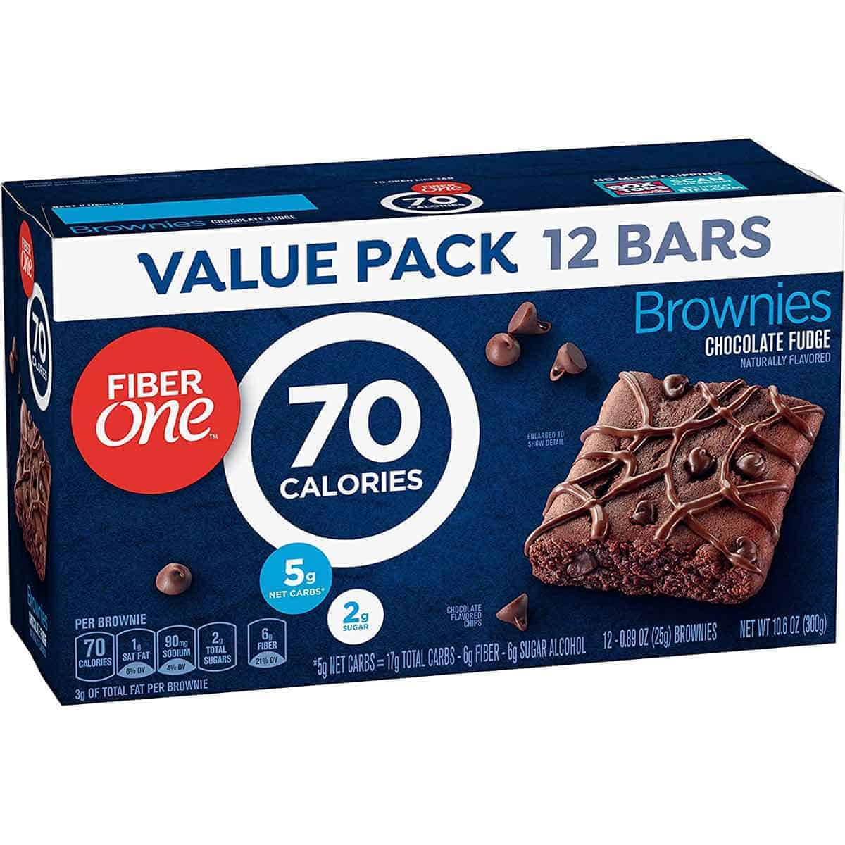 A box of Fibre One 70 Calorie Chocolate Fudge Brownies