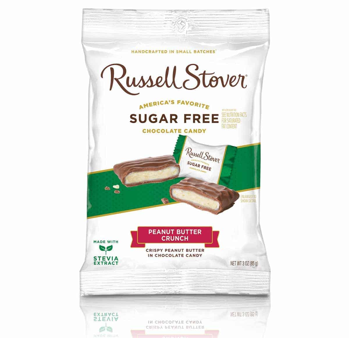 A bag of Russell Stover Sugar free Peanut Butter Crunch Chocolate Candies