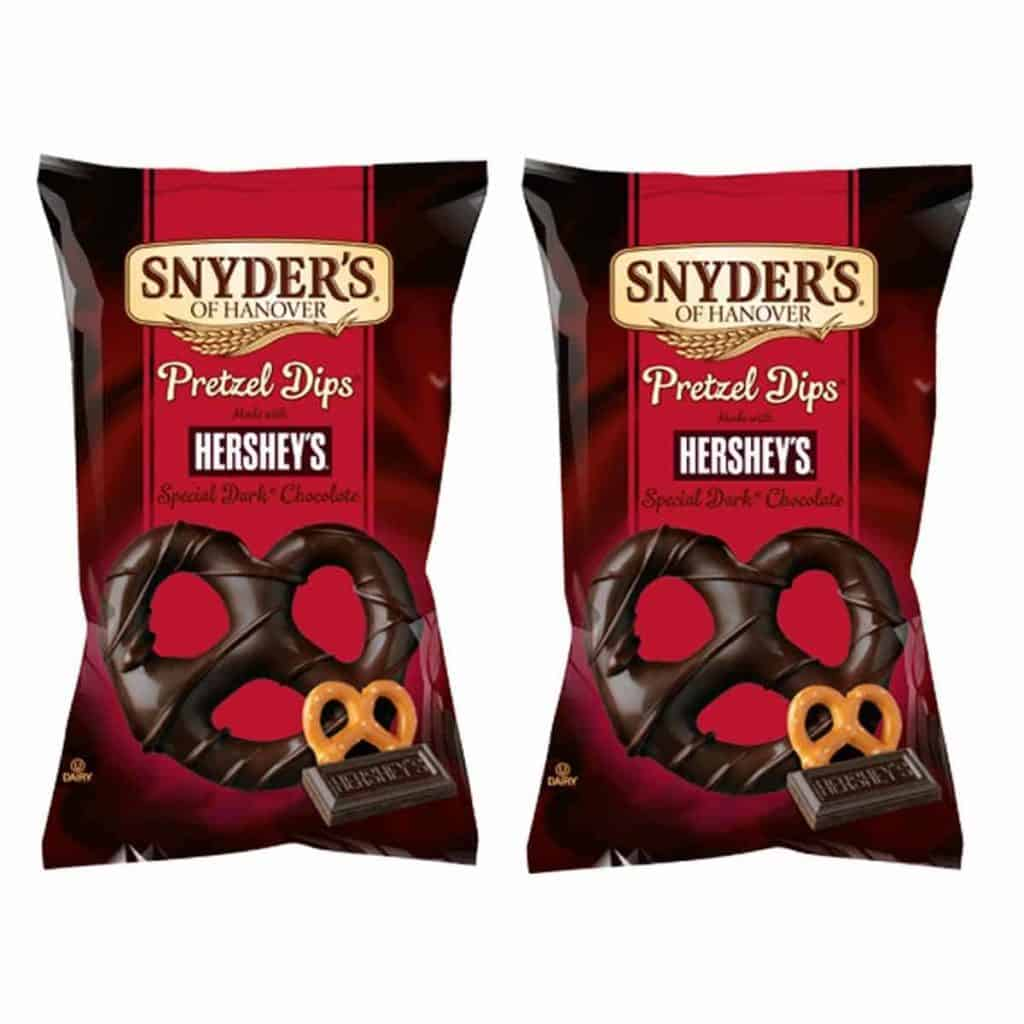 Two packets of Snyders Pretzel Dips