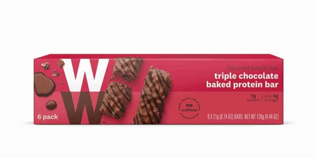 A box of WW triple chocolate baked protein bar - a Weight Watchers low point chocolate bar