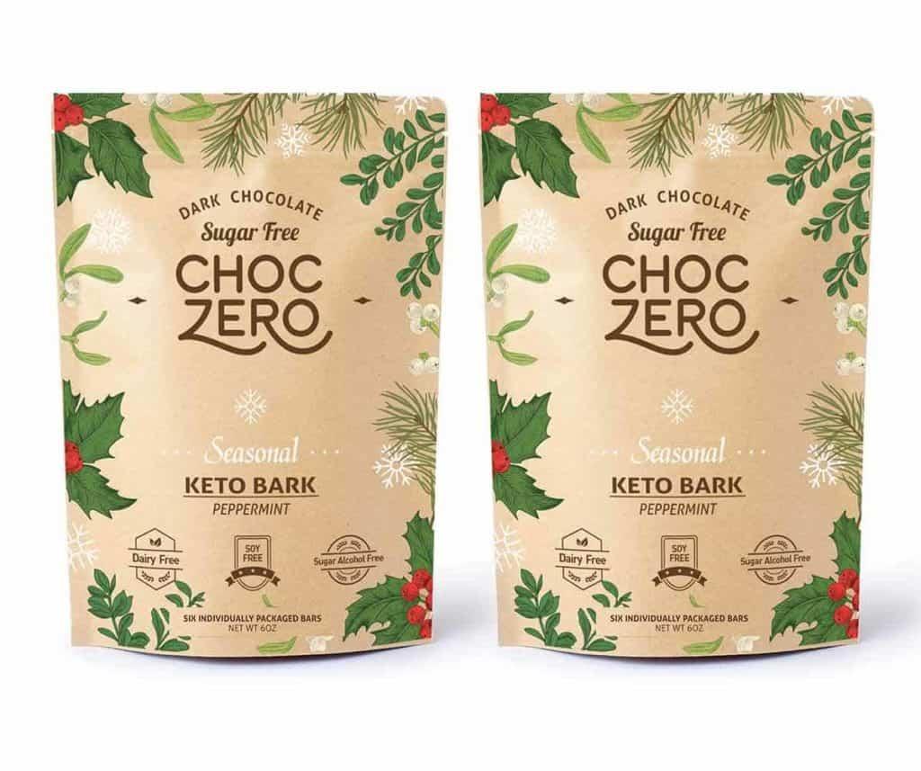 2 bags of Choc Zero sugar free peppermint bark