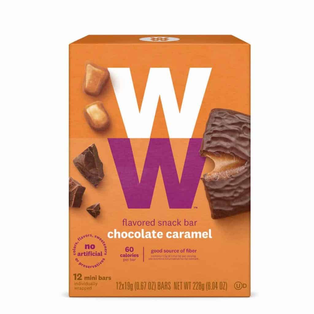 A box of WW Chocolate Caramel Bars - a low point chocolate