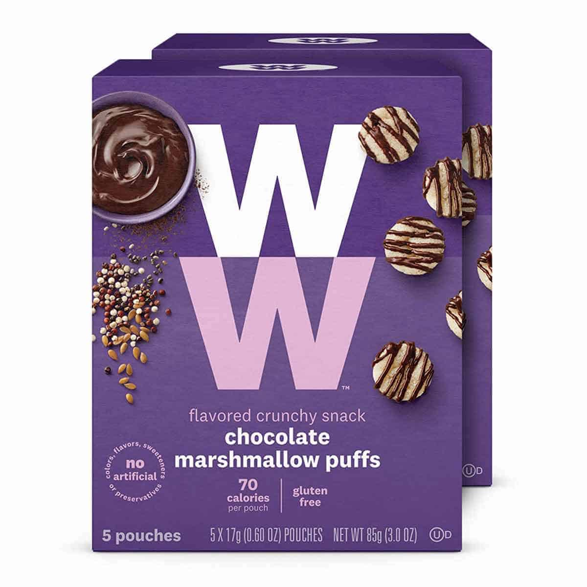 A box of WW Chocolate Marshmallow Puffs