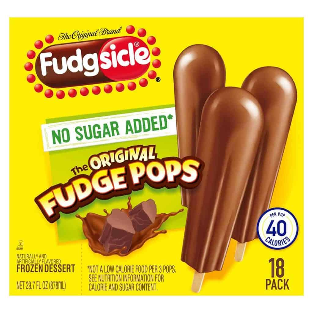 A box of No Added Sugar fudge pops from Fudgsicle