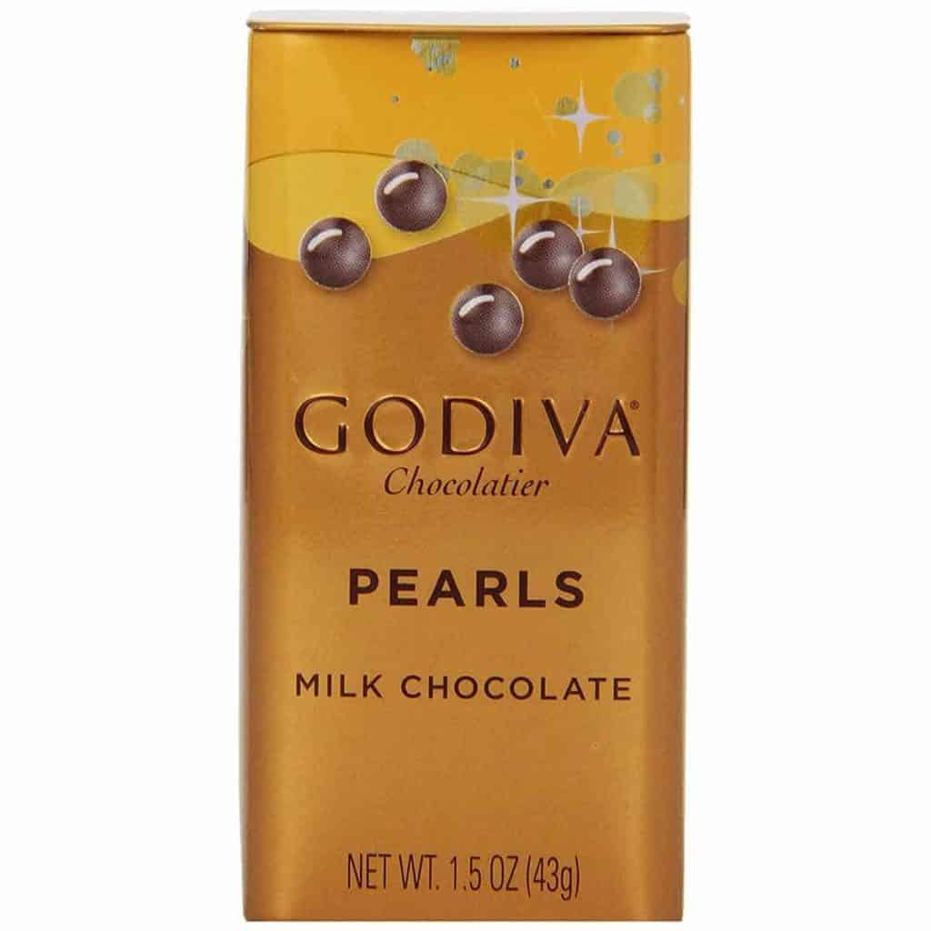 A pack of Godiva Milk Chocolate Pearls