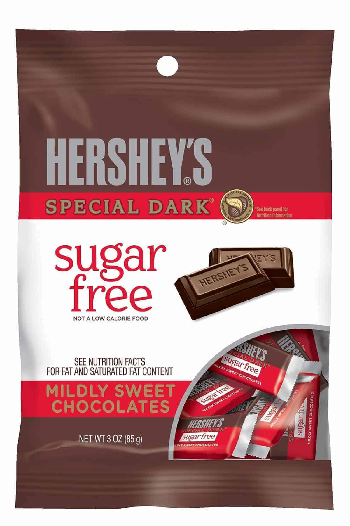 A bag of Hershey's Special Dark sugar free chocolates