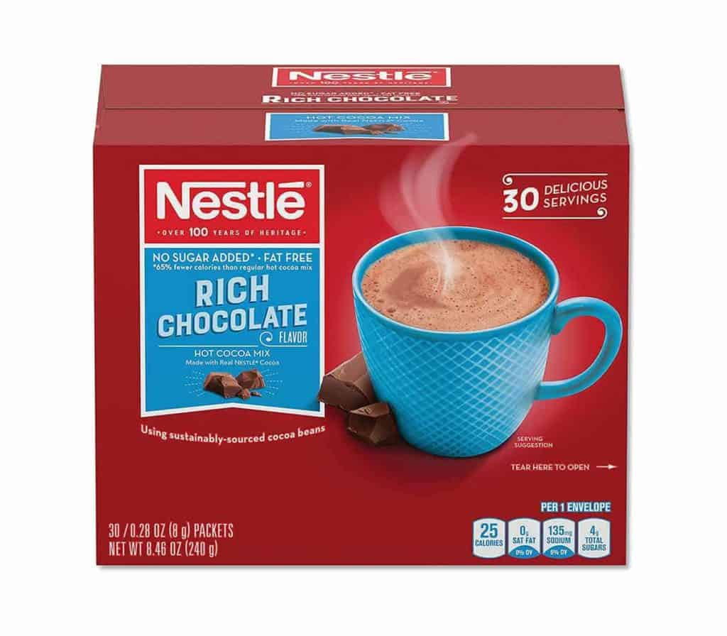 A box of Nestle no sugar added rich chocolate drink