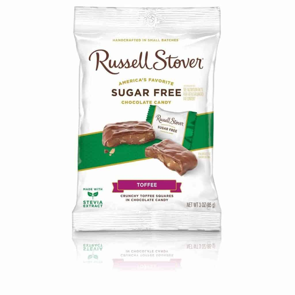 A bag of Russell Stover Sugar Free Toffee candy - low point chocolate ww