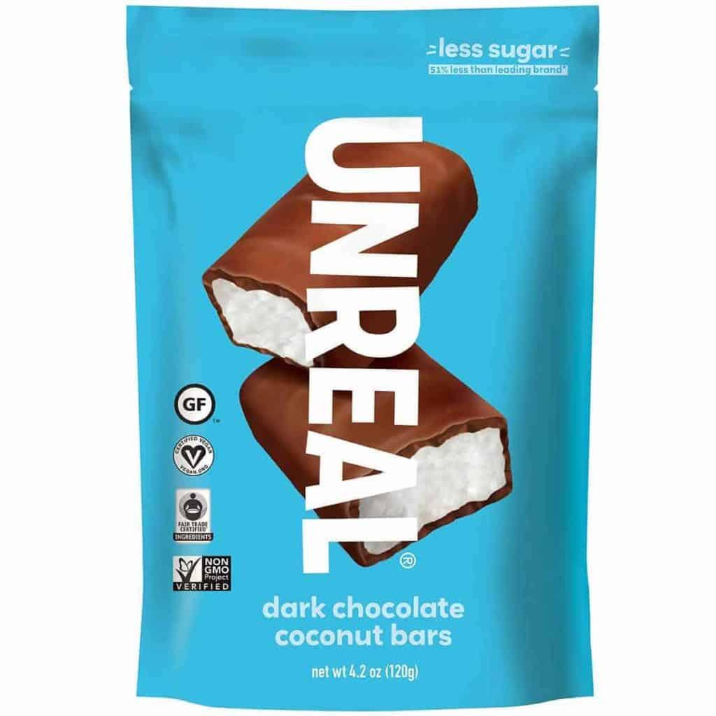 A bag of UNREAL dark chocolate Coconut bars