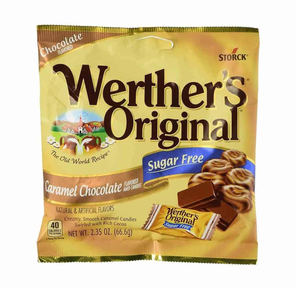 A bag of Werther's original sugar free caramel chocolate candies.