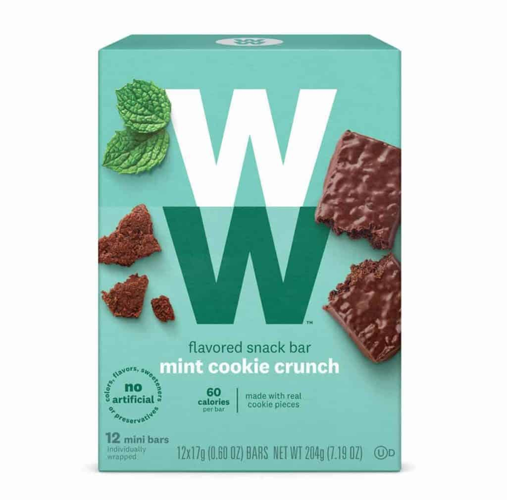 A green box full of WW mint cookie crunch bars - low smartpoint chocolate