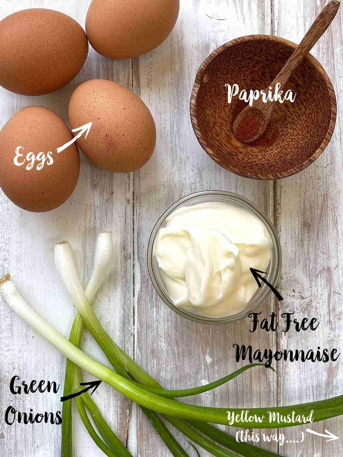 Ingredients used to make egg salad