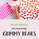 A collage of gummy bears on a white table