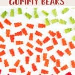 Red, green and orange gummy bears on a white background with a title of sugar free gummy bears