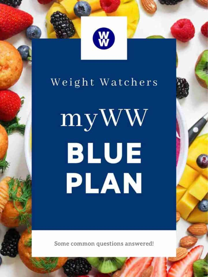 A picture of fruit on a white background with a overlay of text stating 'myWW Blue Plan'.