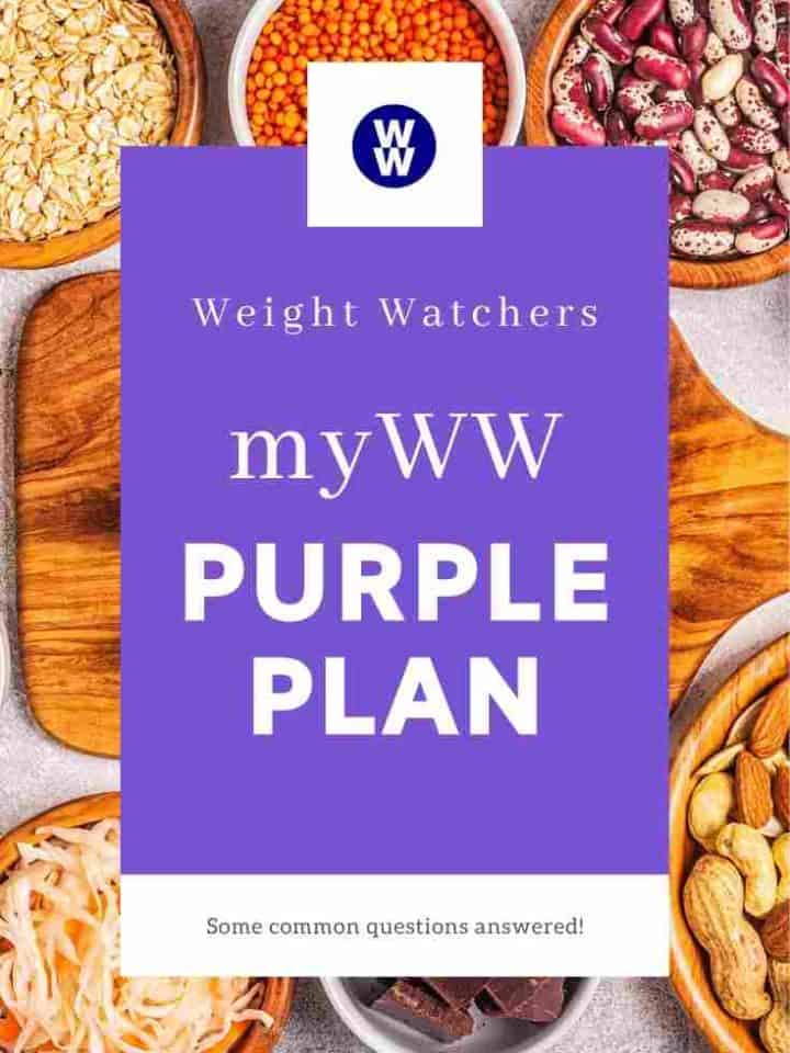 A table covered in small bowls of foods such as beans, oats, nuts and noodles. Overlay of text 'myWW Purple Plan'