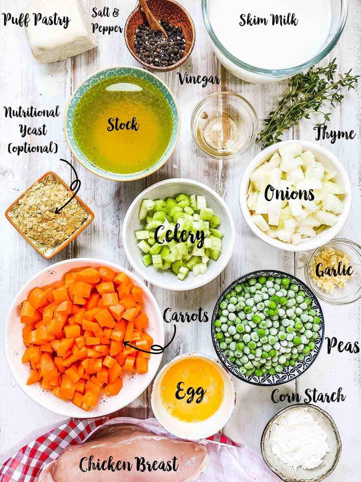 Ingredients to make a chicken pot pie