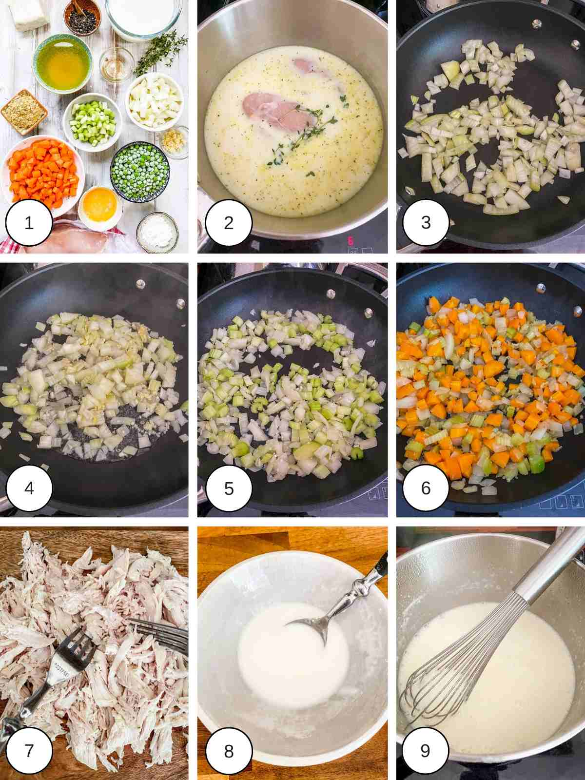 9 pictures showing the process of making WW chicken Pot pie.