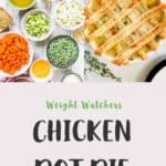 A collage of pictures of Chicken Pot Pie with text overlay stating Weight Watchers Green plan