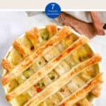 A white dish of Chicken Pot Pie with lattice pastry & a text overlay stating Weight Watchers Chicken Pot Pie