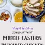 2 pictures of the process of making middle eastern inspired chicken