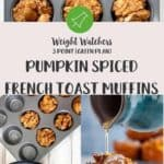 3 pictures of pumpkin muffins, a close up, ingredients being prepared and syrup being poured on a muffin.
