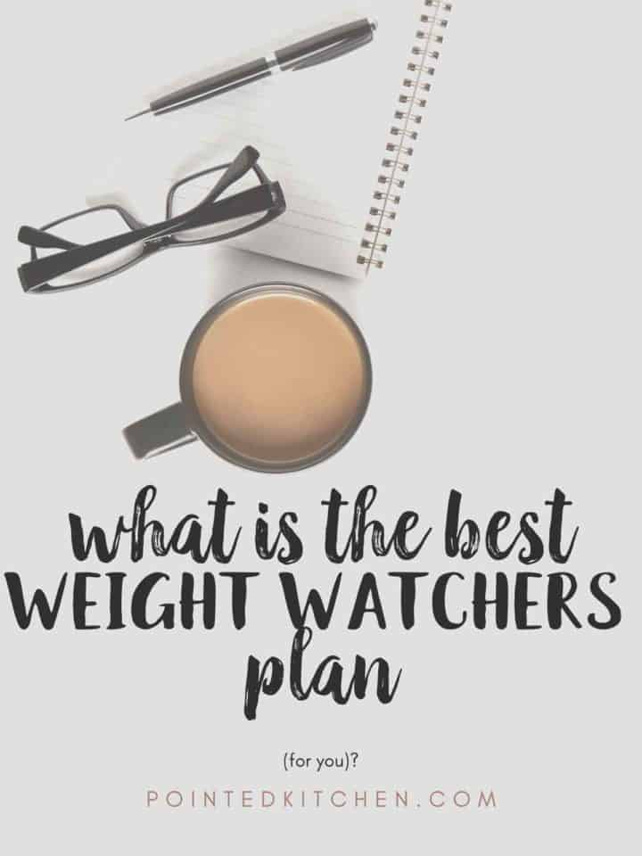 "A notebook, pen, glasses and coffee mug with text overlay stating 'what is the best Weight Watchers plan for you""."