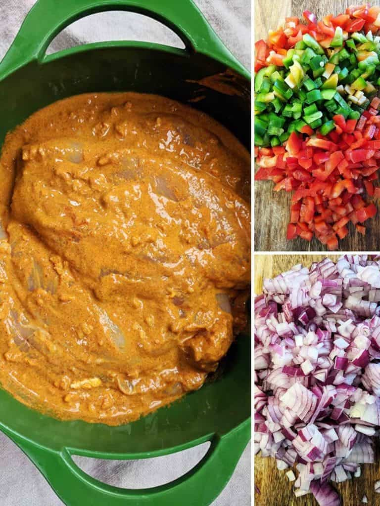 Pictures of a bowl of marinating chicken, some chopped pepper and chopped onions.