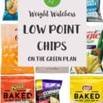 A collage of chip brands with text overlay stating Weight Watchers low point chips.