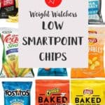 A collage of chip brands with text overlay stating Weight Watchers low smartpoint chips.