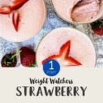 Three dishes of pink dessert with sliced strawberries on top with text overlay 'Weight Watchers Strawberry Fluff'.