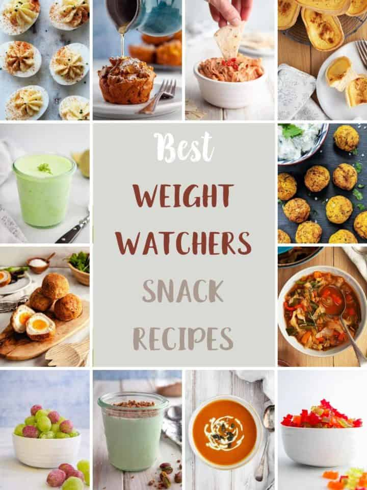 A collage of 12 recipes from Pointed Kitchen that can be eaten as low point snacks on weight watchers.