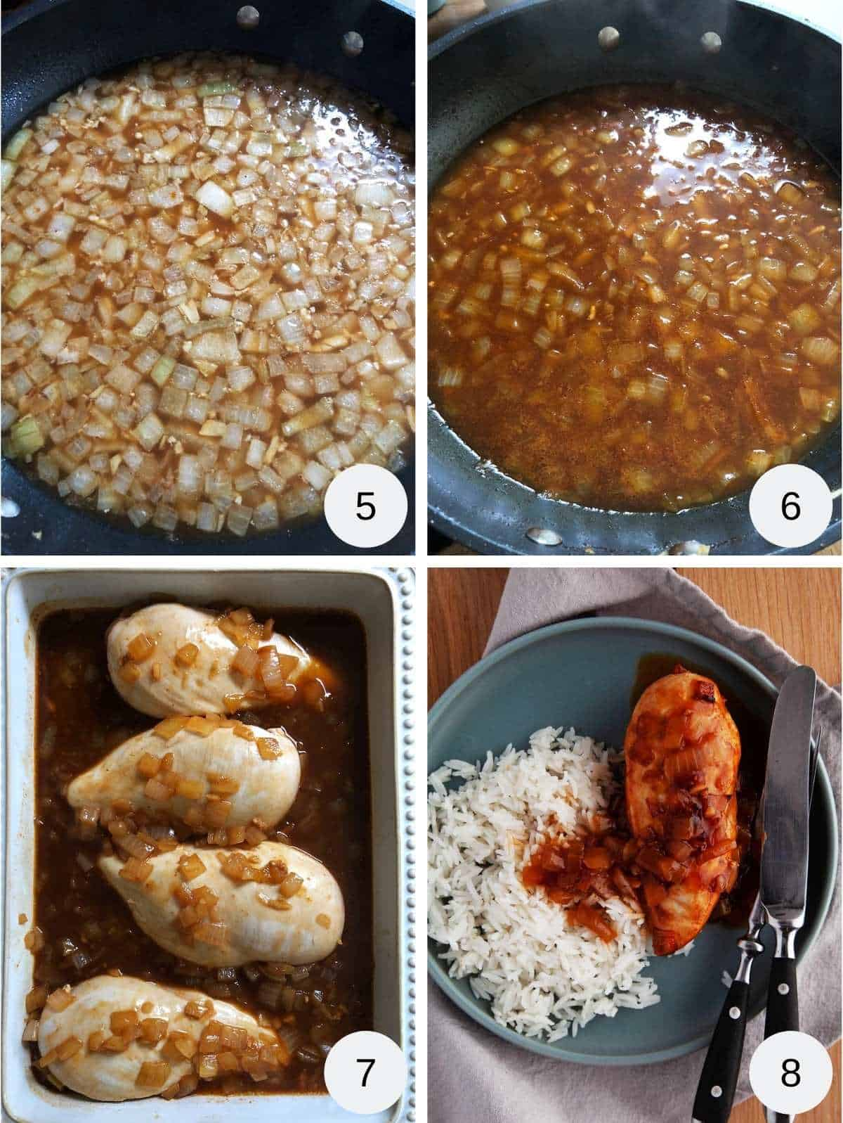 Photo collage - picture one onions in ginger beer, picture two onion in ginger beer reduced, picture three 4 chicken breasts and sauce in a casserole dish and picture four a plate of chicken casserole and rice.