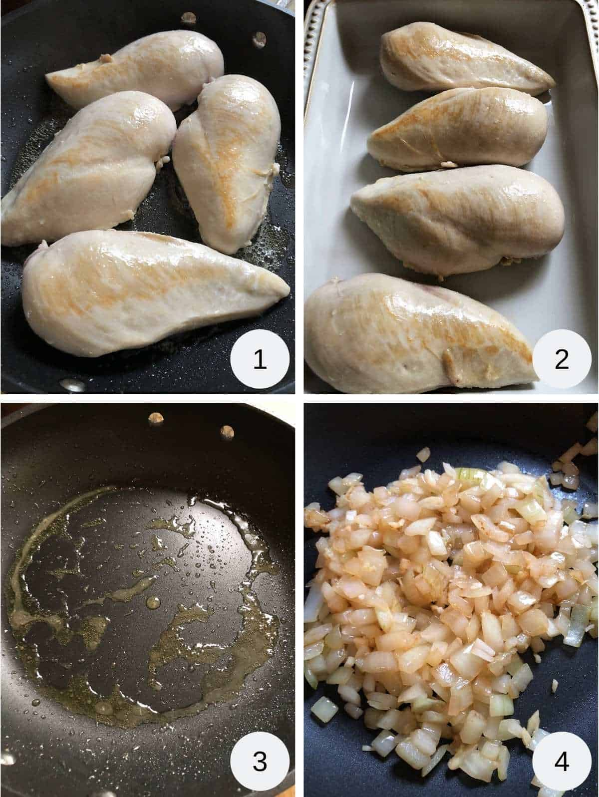 Photo collage. Image one chicken breasts frying, image two browned chicken breasts, image three oil in a pan and image 4 onions browning in a skillet.