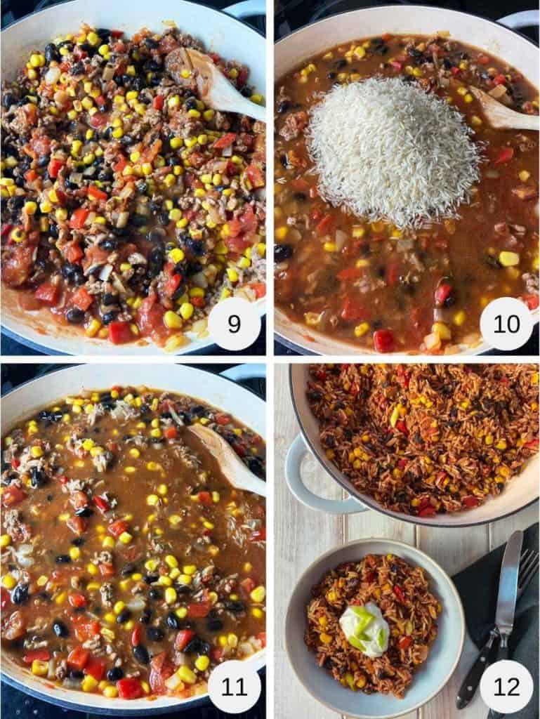 4 photographs of the process of cooking a burrito bowl.
