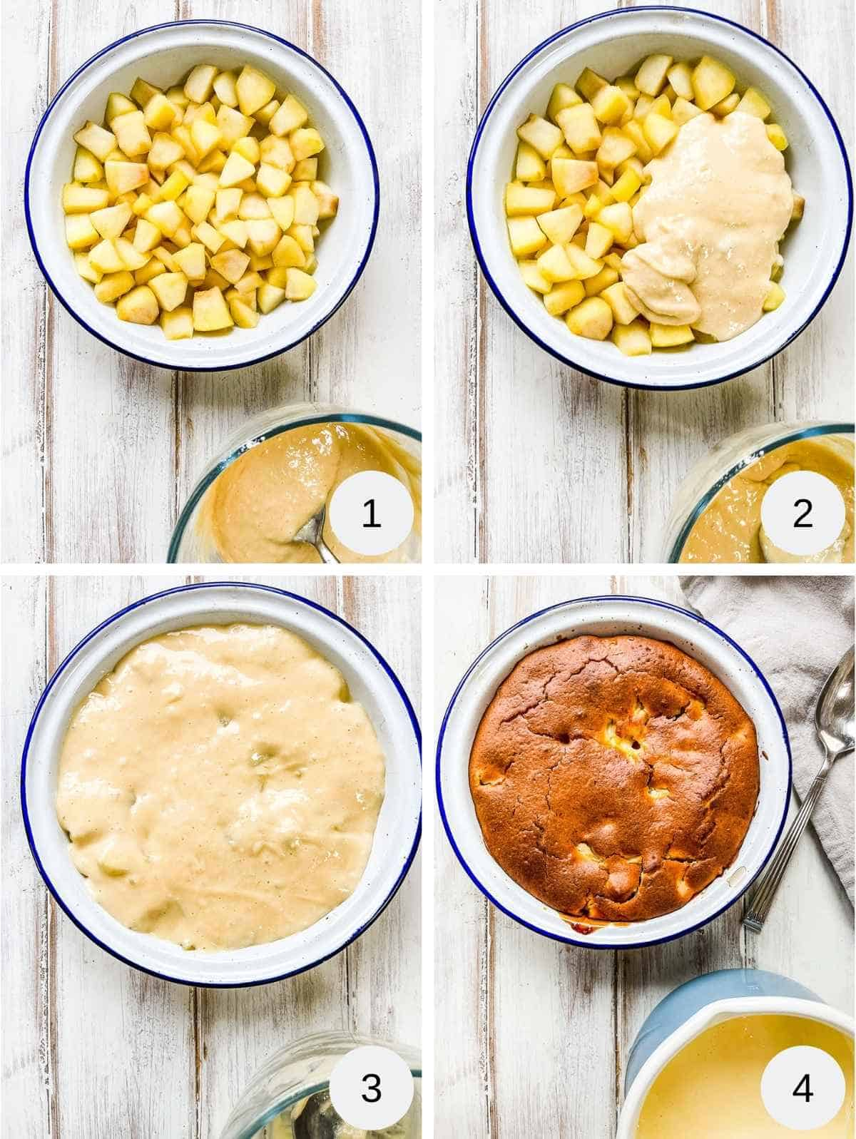 4 pictures of making apple sponge pudding, includes pictures of pie dish of chopped apples, spreading sponge topping on top and after baking.