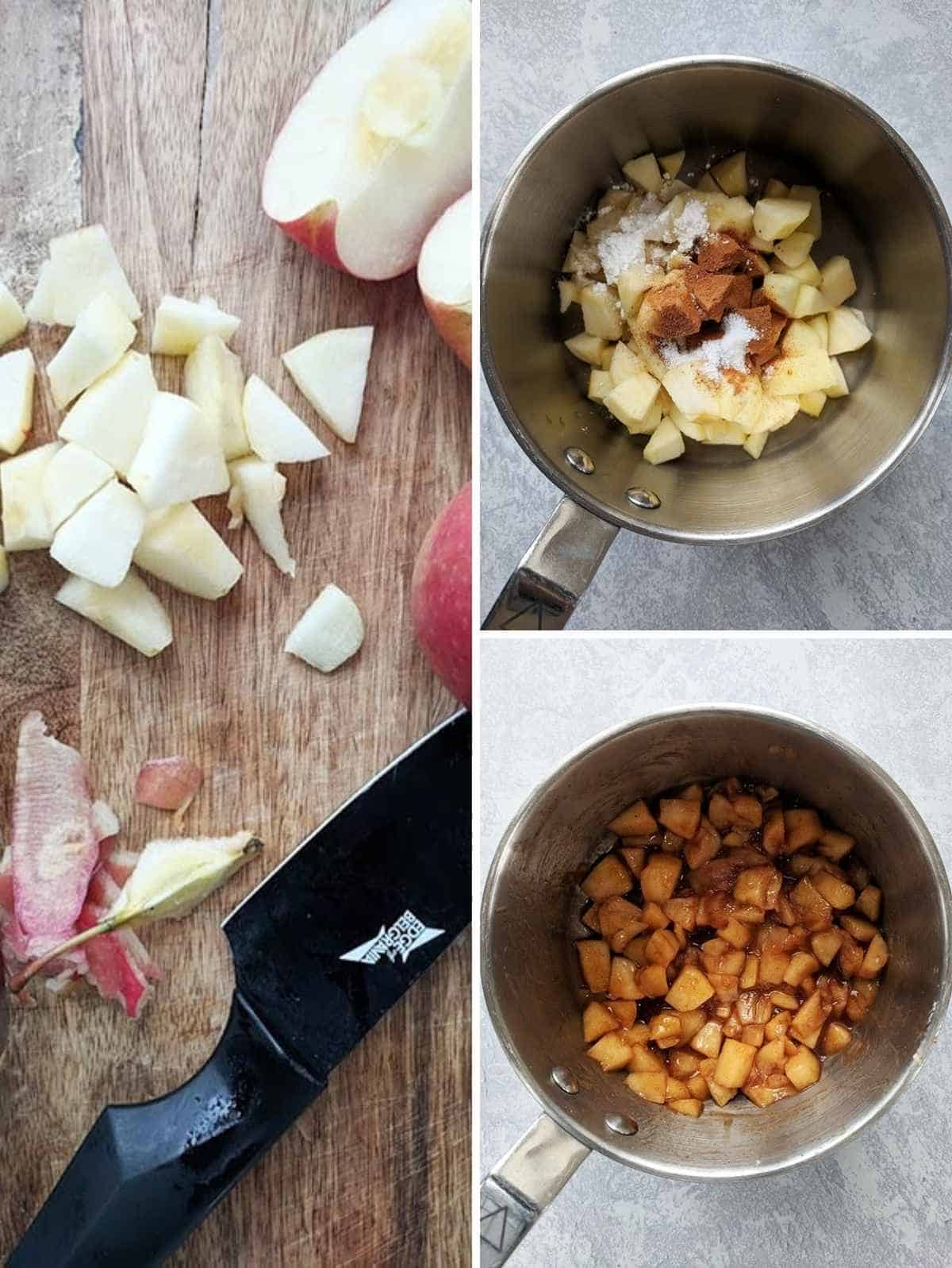 3 photos of making cinnamon apples. First shows chopped apples, 2nd shows chopped apple and cinnamon in a saucepan and last shows after it has been cooked.