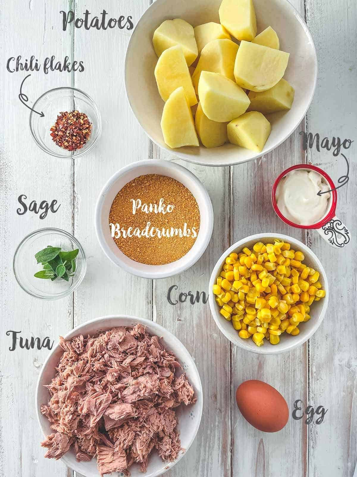 Ingredients used to make tuna & Sweetcorn fish cakes with text label overlays.