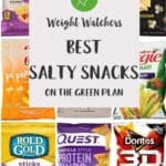 A collage of different low point salty snacks with text overlay stating Weight Watchers Best Salty snacks on the Green plan.