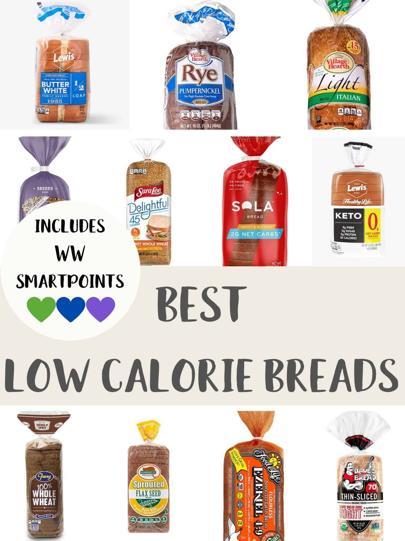 Photographs of packs of bread with text overlay stating Best Low Calorie Breads - includes WW SmartPoints.