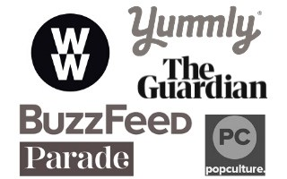 Logos of the magazines, websites and papers that Pointed Kitchen has been featured in.