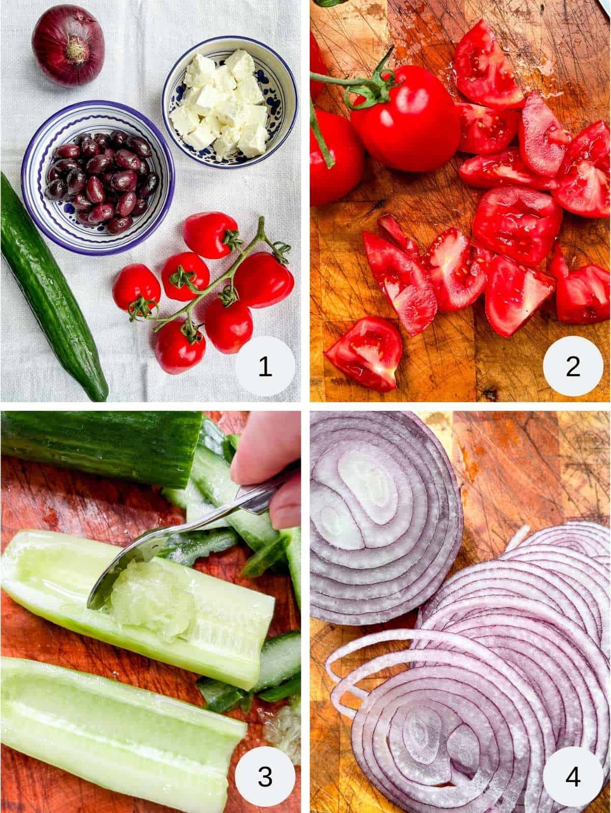 A collage of pictures showing the process of making Greek salad.